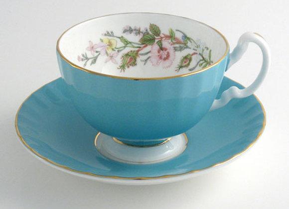 Wild Tudor Teacup & Saucer Oban Turquoise