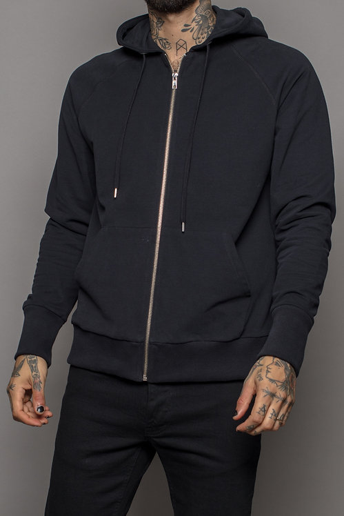 Black label zip hood Black