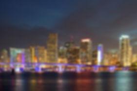 Miami Florida  downtown illuminated bus