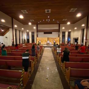 Missa presencial: nova capacidade das igrejas na paróquia