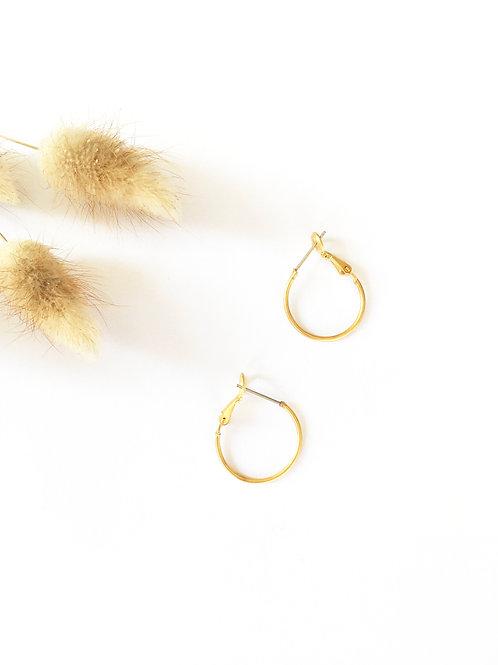 """Créoles """"Montisi"""" en laiton doré à l'or mat 24 carats 20mmx1,2mm"""