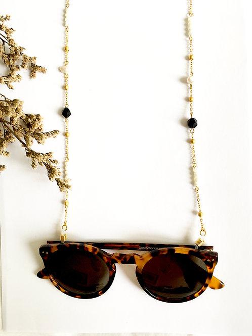 """Chaine de lunettes """"Marialuisa"""" en laiton doré l'or 24 carats et Agate noire"""