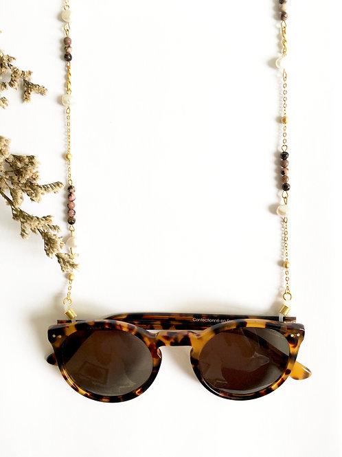 "Chaine de lunettes ""Marialuisa"" or 24 carats et Rhodochrosite"