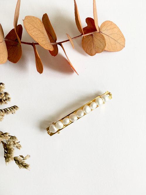 Barrette à cheveux de 6cm ornée de  perles d'eau douce