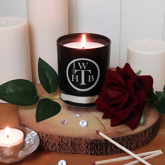 Scented Soy Black Candle & Gift Box - Rose