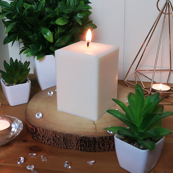 Soy Square Pillar Candles - Large - Unscented