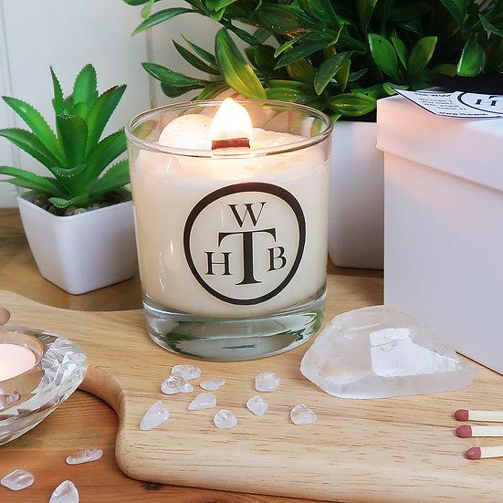 Luxury Wood Wick Candle Gemstone Gift Set - Clear Quartz and Gardenia
