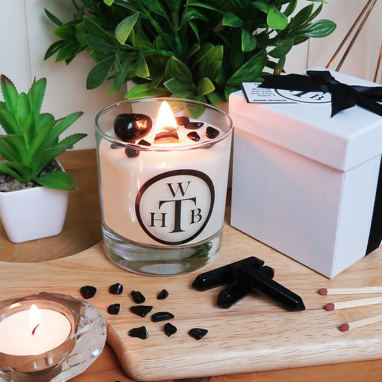 Luxury Wood Wick Candle Gemstone Gift Set - Black Obsidian & Black Pearl Orchid