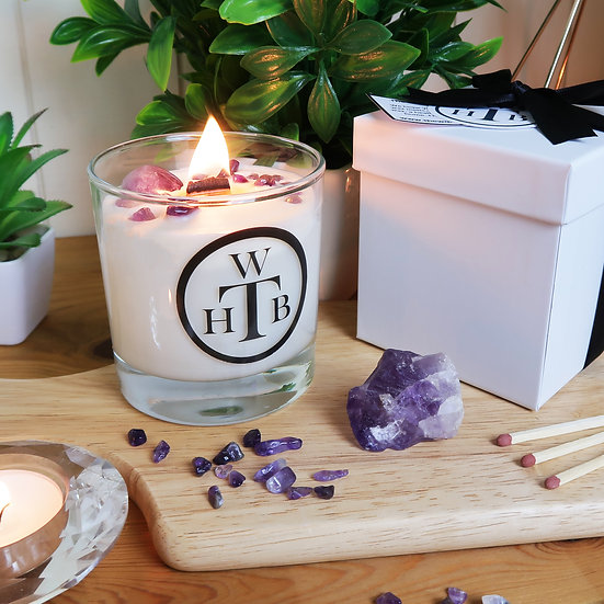 Luxury Wood Wick Candle Gemstone Gift Set - Amethyst and Lavender
