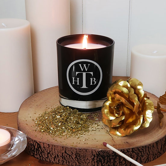 Scented Soy Black Candle & Gift Box - Oud