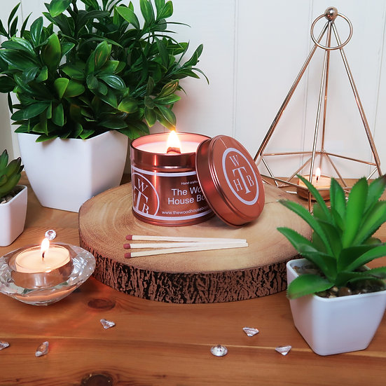 Luxury Unscented Wood Wick Rose Gold Tin Candle & Gift Box
