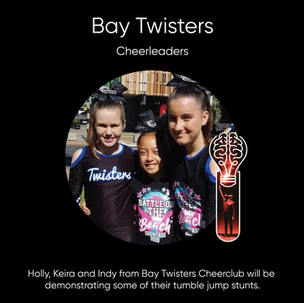 Holly, Keira and Indy from Bay Twisters Cheer club.