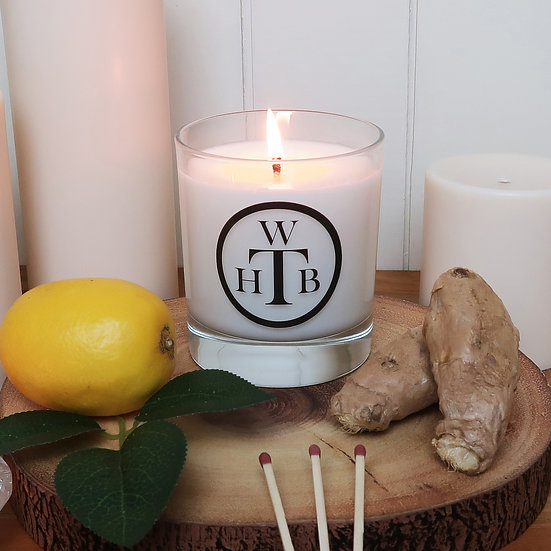Scented Soy Candle & Gift Box - Lemongrass & Crushed Ginger