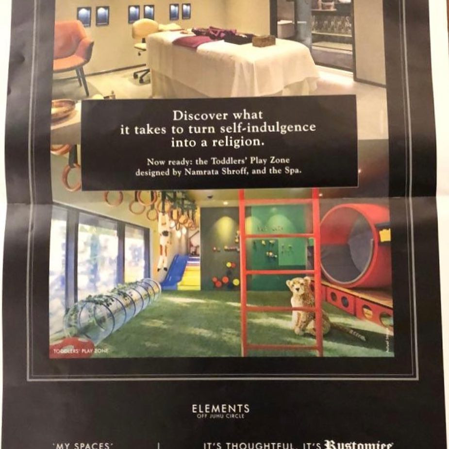 The Spa and Kids Play Area featured in a Local Newspaper in Mumbai.