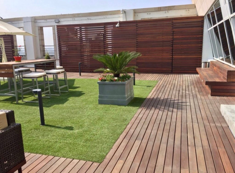 Outdoor Deck Wood with Bermuda Grass