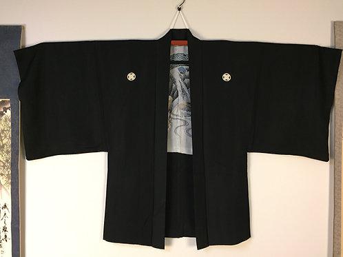 """Fine Samurai """"Ukiyoe"""" Black SilkHaori #0409"""