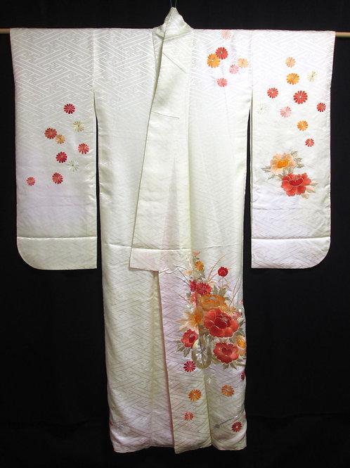 UNIQUE JAPANESE KIMONO SILK FURISODE / EMBROIDERY PEONY & CHRYSANTHEMUM #0343