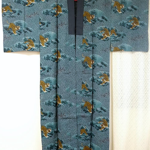 Naga Juban blue (kimono undergarment) w/ Tiger #0048
