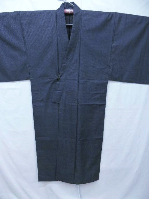 """Dark Indigo Silk """"Tsumugi Kimono""""with Woven """"Kikko  #0106"""
