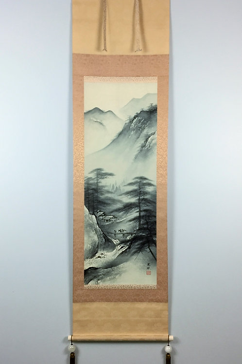 "JAPANESE SCROLL ""Bridge on River Scenery"" #0148"