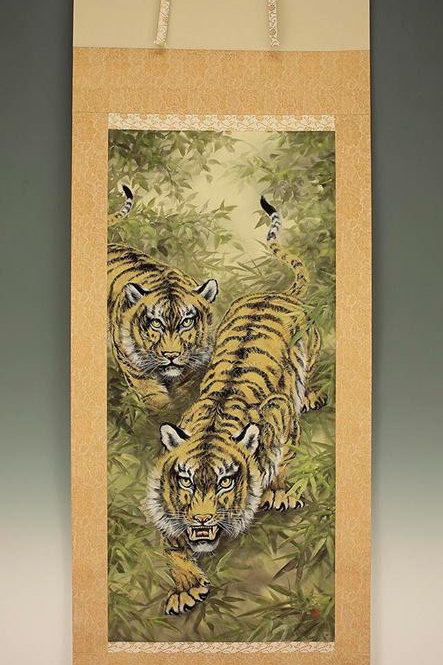 "JAPANESE HANGING SCROLL ""Two Glaring Tigers in Bamboo Grove"" #1702"