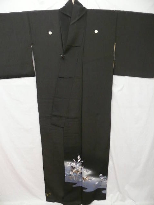 "Kunoichi ""Tomesode Kimono"" Black Silk Chrysanthem"
