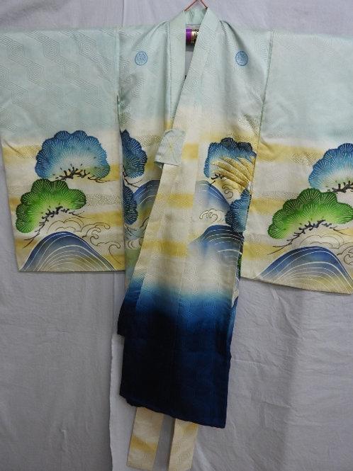 Boy's Japanese KIMONO / Silk / Embr. Hawk, Pine Tree and Wave Motif #1509