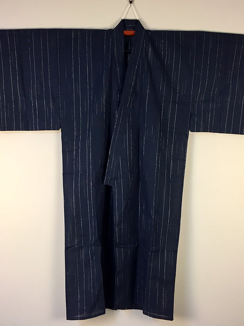 Japanese Light-Kimono YUKATA Indigo/Silver Stripes#0387
