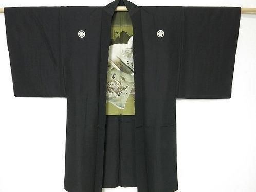 Japanese Men's HAORI Black Silk Scenery #0411