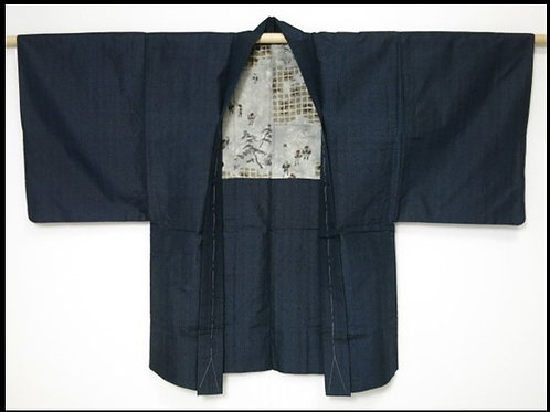 Daimyogyoretsu Japanese Silk Men's HAORI Navy#0408