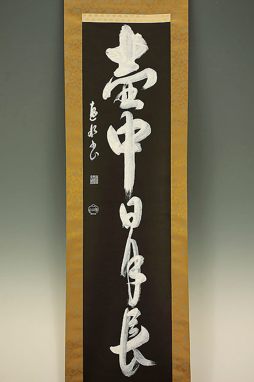 "Unique JAPANESE HANGING SCROLL ""壺中日月長 Kochu Jitsugetsunagashi"" #1700"