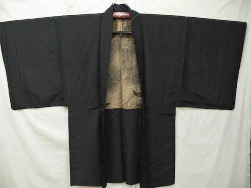 "Ninja's Black Silk ""Tsumugi Haori"" w/ Fine Lining of Golden Hawks Patterns #0406"