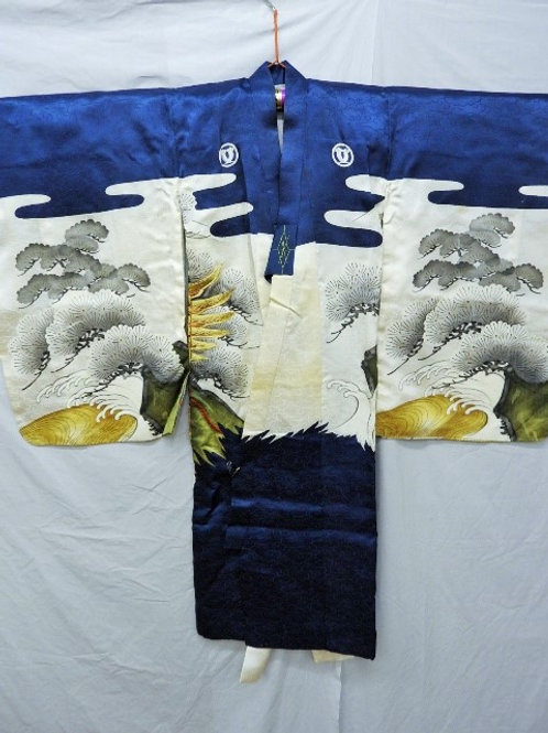 Japanese Silk KIMONO, 2 Hawks, Mt.Fuji, 5 Samurai Family Mon (Crests), #1532