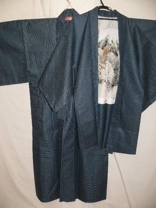 """Daimyo """"Tsumugi"""" Kimono & Haori, Navy Silk #0085"""