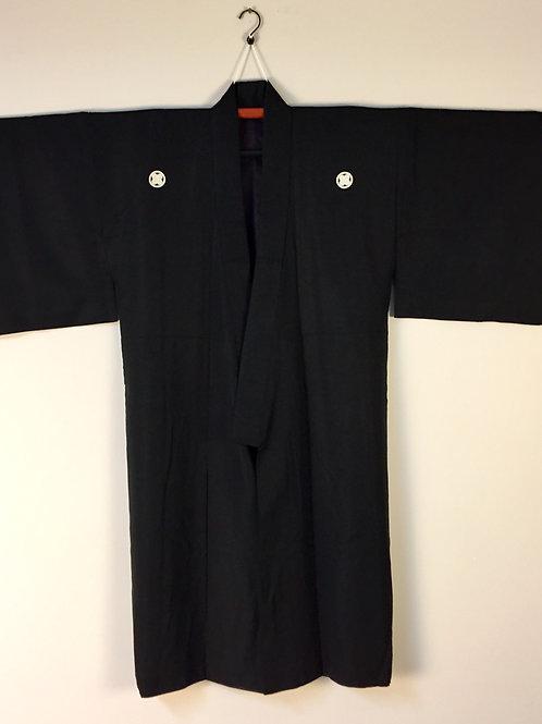 "Japanese ""Ukiyoe"" Black Silk ""Kimono Ensemble w/ 5 Asano Crests #0081"
