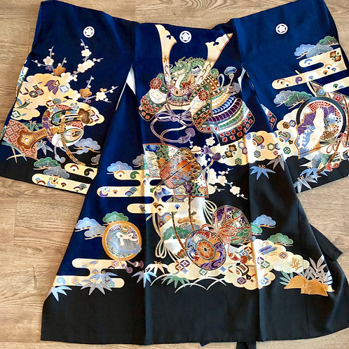Boy's Japanese Silk KIMONO Navy & Black w/ 5 Samurai Crests; Kabuto #1533