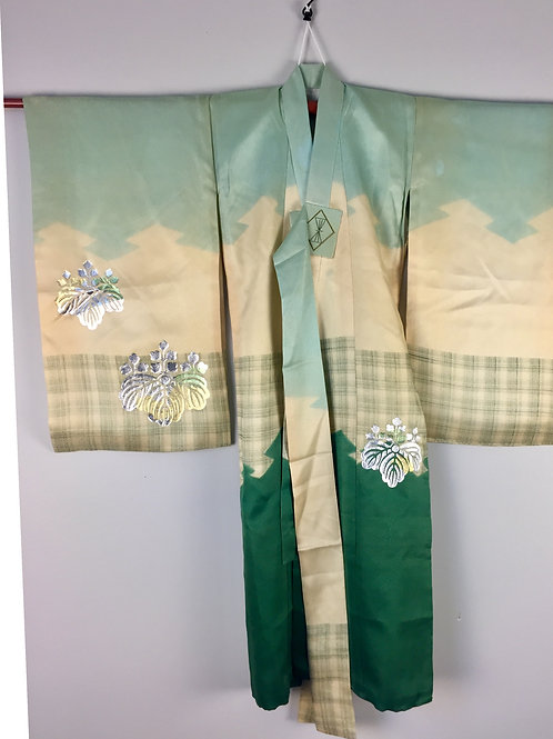 Boy's KIMONO with Gold & Silver Embroidered Hawk Motif #1501