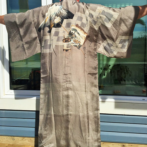 JAPANESE KIMONO / JUBAN / MT. FUJI & YAKKOSAN #0043