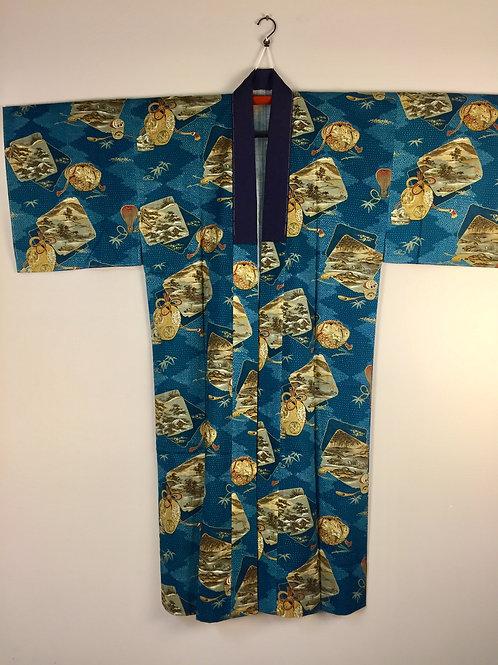 JAPANESE KIMONO / ANTIQUE YAKUZA JUBAN / TEA UTENSILS & SCENERY #0369