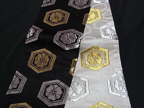 Japanese Kimono Yukata Hanhaba Obi BLACK HANABISHI #0121
