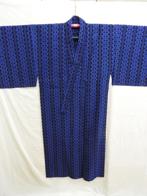 Japanese YUKATA Indigo Cotton w/ Dyed YOSHIWARA-TSUNAGI Patterns #0351