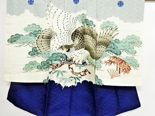 Boy's Japanese KIMONO; w/ Hawk & Pine tree & Carriage/Fan (Gold Embr.) #1520