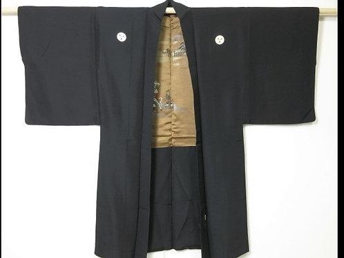 Bushi - Silk HAORI, EMB Samurai warriors scenery, 5 Okinawa Clan Mon #0405