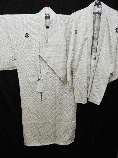 Japanese KIMONO & HAORI Ensemblewith 5 Asano Family Crests #0350