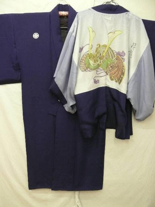 "Men's Dark Navy Silk ""Kimono & Haori"" #0001"