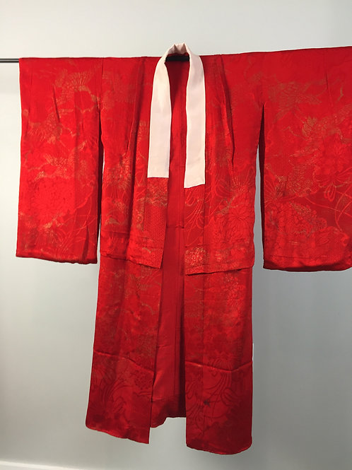 Japanese kimono (Red) w/ crane gold patterns #0236