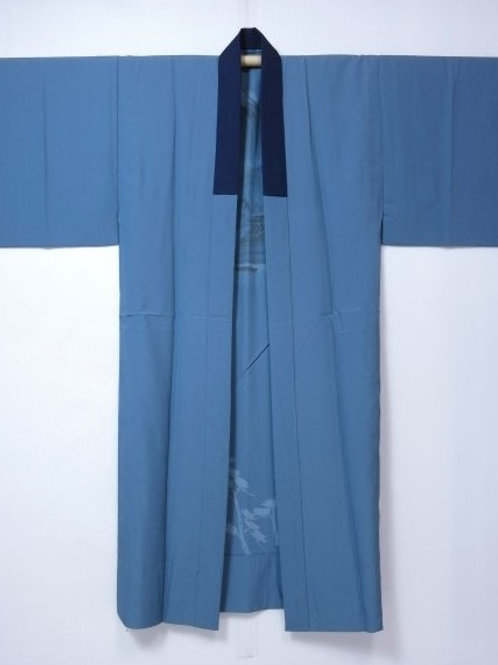 Japanese Kimono JUBAN Blue-Gray Mt.Fuji #0126