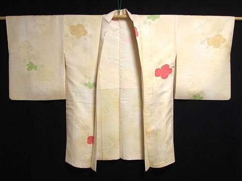 JAPANESE KIMONO SILK HAORI / FLOWER PATTERN / Silk