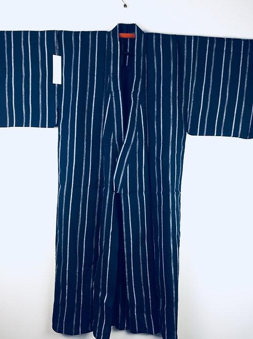Japanese Light-Kimono YUKATA Dark Indigo/Silver Stripes#0392