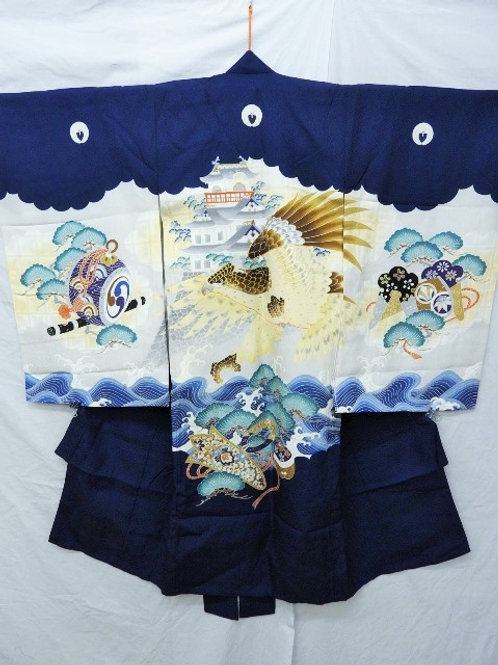 Boy's Silk Japanese KIMONO Navy & Gray w/ 5 Samurai Mon, Dyed Castle, Hawk #1522